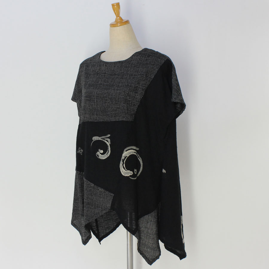 絣衣 しじら織り絣木綿 プルオーバー