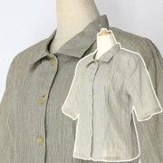 スミヒコ 小千谷ちぢみ 縞織り ブラウス 衿付き BR50155
