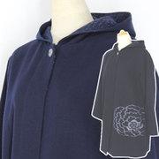 彩藍 久留米絵絣縫い付け フード付きコート CO30044