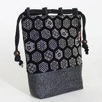 粋な印伝調編み底巾着袋