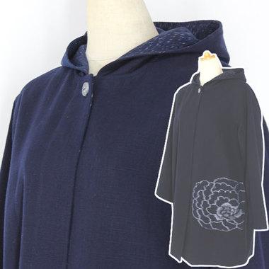 久留米絵絣フード付きコート