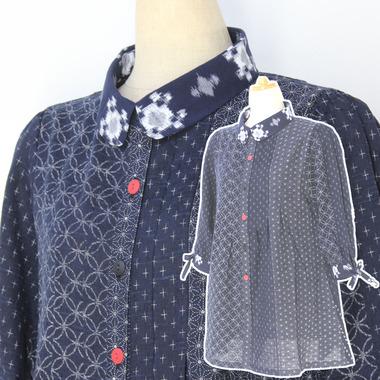 絣衣 麻混和プリント木綿 ジャケット
