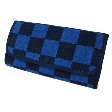 藍染市松財布