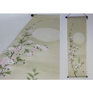 季節の麻布タペストリー 月に桜