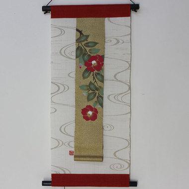 麻布タペストリー 琳派絵 椿