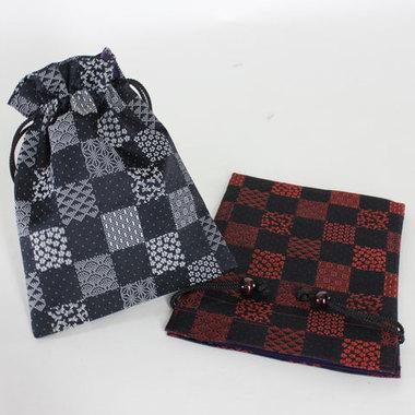 市松小紋柄 巾着袋