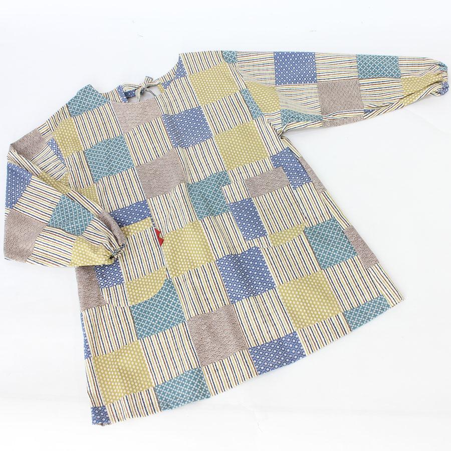 和プリント綿 かっぽう着 市松小紋