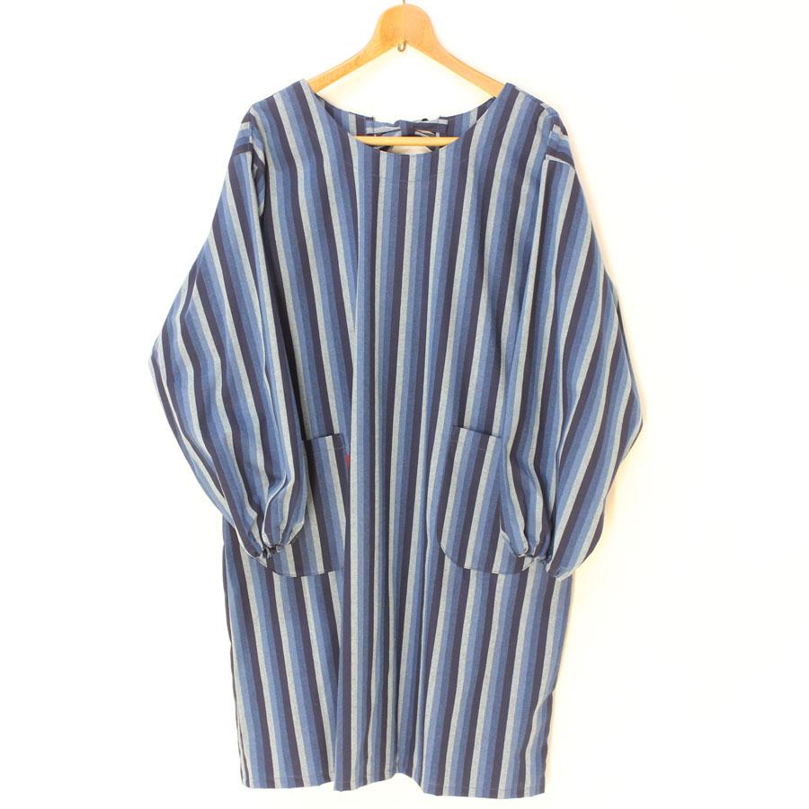 縞織り綿 かっぽう着